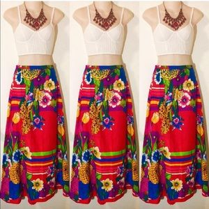 Vibrant Red Sixties VTG Floral Maxi Skirt